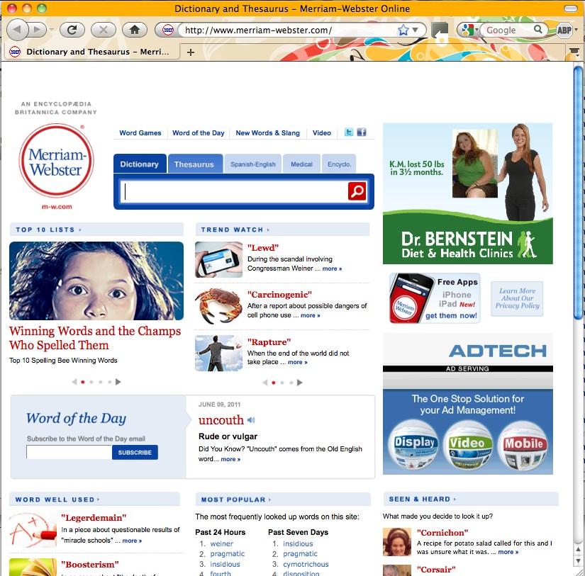 Screenshot: website before Adblock Plus